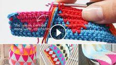 Multicolor Mochila Tapestry Crochet Tote - That's It Crochet Crocodile Stitch, Crochet Waffle Stitch, Bobble Stitch, Crochet Stitches, Mochila Crochet, Crochet Tote, Crochet Handbags, Easy Crochet, Tapestry Crochet Patterns