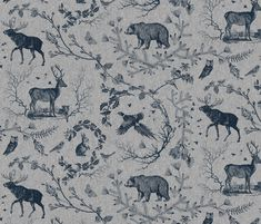 Buy Woodland Winter Toile (in Cranberry) custom fabric, wallpaper and home accessories by nouveau_bohemian on Spoonflower Surface Pattern, Surface Design, Tablecloth Fabric, Fabric Remnants, Fabric Wallpaper, Smoke Wallpaper, Navy Wallpaper, Cotton Pillow, Throw Pillow