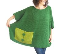 Plus Size - Over Size Sweater Dark Green - Light Green Hand Knitted Sweater with Pocket Tunic - Sweater Dress by Afra