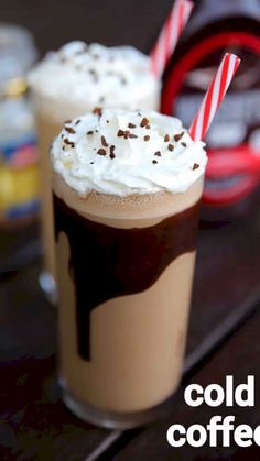 cold coffee recipe, cold coffee milkshake, coffee milkshake with step by step photo/video. perfect cold milkshake for hot summer & alternative to cappuccin Coffee Drink Recipes, Cold Coffee Recipe, Frozen Coffee Drinks, Cold Coffee Drinks, Starbucks Recipes, Starbucks Drinks, Starbucks Coffee, Cold Drinks, Chaat Recipe