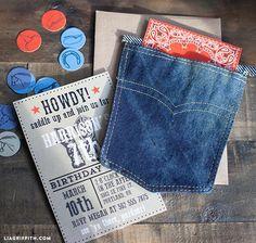 Denim pocket but have elegant invite. Do diamond accent along stitching.