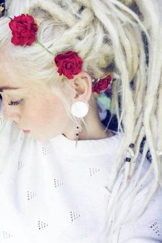 Soft Blonde dreads accented with flowers