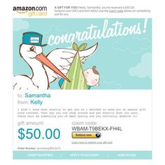 Amazon Gift Card - E-mail - New Baby Boy $50.00