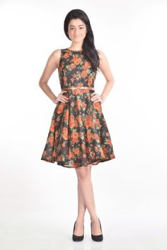d29b083613ed Aaina Women s Fit and Flare Dress - Buy Black - Floral Aaina Women s Fit  and Flare