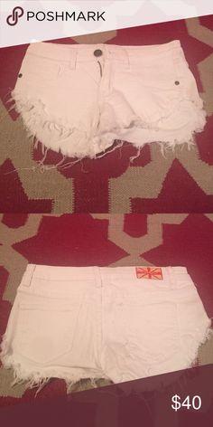Frayed White Jean Shorts (S) Frayed White Jean Shorts (S) Shorts Jean Shorts