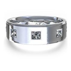 Men's 3/8 ctw Princess-Cut Diamond Wedding Ring in 14k White Gold