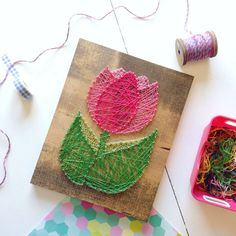 Flower tulip string art bright beautiful colorful wood sign wooden art mothers day gift home decor decoration from my Etsy shop https://www.etsy.com/listing/467192239/flower-tulip-string-art-bright-beautiful