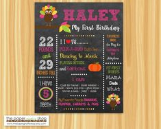 Turkey First Birthday Chalkboard Poster, Girls Fall First Birthday Party Turkey Birthday Party, Owl First Birthday, Fall Birthday Parties, First Birthday Chalkboard, Girl Birthday Themes, First Birthday Photos, Milestone Birthdays, First Birthdays, Chalkboard Poster
