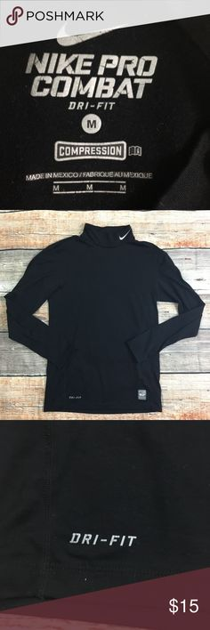 Nike | Black Compression Shirt Used condition, some cracking in tag print. No rips, stains, or holes. Nike pro-combat Black Long Sleeve turtleneck compression shirt! Size Medium! Nike Shirts Tees - Long Sleeve