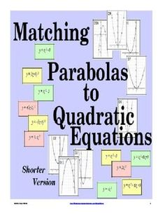Chapter 9 Sections (Matching Graphs to Quadratic Equations Activity (Free Version)) Algebra Activities, Maths Algebra, Math Resources, Math 8, Classroom Resources, Math Teacher, Math Classroom, Teaching Math, Classroom Decor
