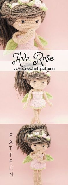 Ava Rose fairy doll crochet pattern. Lovely Amigurumi tor for a child. Such a sweet little fairy! #etsy #ad