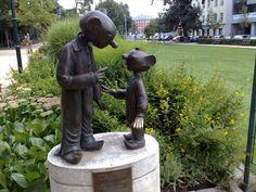 "Sculptural group of the puppets Spejbl and Hurvinek, two famous Pilsen ""natives"" - Spejbl a Hurvinek, - Plzensky kraj, Czech Republic"