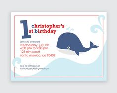 Whale Birthday Invitations Sample