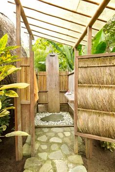 Outdoor shower with hot water.