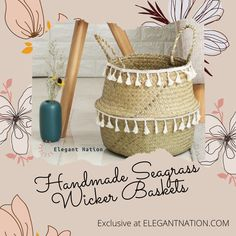 Look at these elegant handmade bamboo baskets, they are one of a kind. Use them as Storage, Flowerpot, Laundry basket or Toy holder. Bamboo Basket, Wicker Baskets, Stress Free, Laundry Basket, Flower Pots, Household, Toy, Make It Yourself, Elegant
