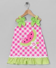 Take a look at this Pink & Green Gingham Watermelon Dress - Infant, Toddler & Girls by Youngland on #zulily today!