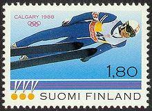 Postage stamp depicting Matti Nykänen at the Calgary Winter Olympic Games. Winter Olympic Games, Winter Olympics, Calgary, Nordic Skiing, Ski Posters, Ski Jumping, Winter Scenery, Small Art, Sports Art