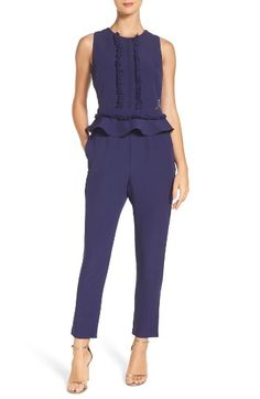 Free shipping and returns on Adelyn Rae Ruffle Peplum Jumpsuit at Nordstrom.com. Fringe, ruffles and lace latticework add luxe, sculptural definition to this slim-leg jumpsuit.