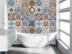 "These beautiful wall ""tiles"" are actually STICKERS!! Portuguese Tiles Azulejos - This set consists of 56 wall tile stickers, which you can attach easily. These wall tile covers can be added to liven up your tiles without any real work or commitment!"