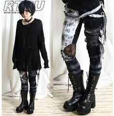 Ultra Long Zombie Gauze Punk Gothic Punk Distressed Tie Dye Legging Black