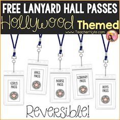 Free Hollywood themed Hall Passes - Decoration For Home Classroom Jobs, Classroom Decor, Classroom Organization, Fourth Grade, Second Grade, Sixth Grade, School Hall, Middle School, High School