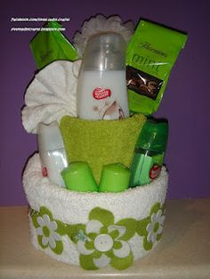 Green and White pamper cake
