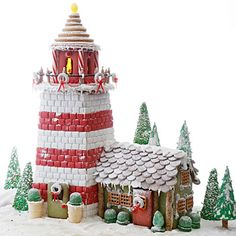 Royal Icing is used as a decorative icing. For the Gingerbread Lighthouse, Royal Icing acts as snow on the base and as glue for the candy pieces on How To Make Gingerbread, Christmas Gingerbread House, Noel Christmas, Gingerbread Man, Gingerbread Cookies, Christmas Cookies, Christmas Crafts, Gingerbread Village, Christmas Houses