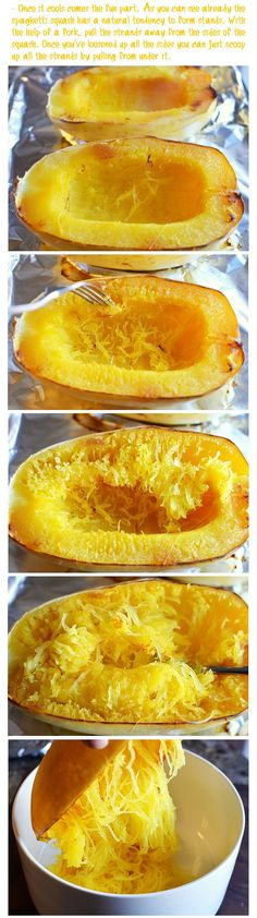 How to cook spaghetti squash. Not knowing how to bake and shred this delicious vegetable dish always intimidated me away from trying to cook it myself, but this makes it simple. I can enjoy pasta-like dishes with less guilt! YEAH!