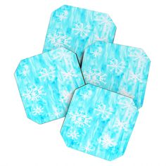 Rosie Brown Snowing Coaster Set | DENY Designs Home Accessories   #coasters #sets #snowflakes #christmas #bar #homedecor #denydesigns