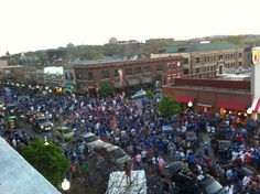 Mass. Street after beating NC in the Elite 8, March Madness 2012