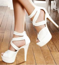 Elegant White Coppy Leather Ankle Strap High Heel Shoes 10854511 - Prom Shoes - Dresswe.Com