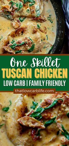 Creamy Tuscan Chicken is a one-skillet dish that's oh so rich and satisfying. It's low carb, family friendly, and sure to be a hit thanks to that creamy flavorful sauce! Spicy Recipes, Pasta Recipes, Low Carb Recipes, Chicken Recipes, Keto Chicken, One Pot Dinners, Tuscan Chicken, Food Dishes, Main Dishes