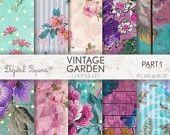 VINTAGE SHABBY GARDEN, Grunge, pastel, flowers, shabby chick, summer, invites, scrapbooking, craft, printable sheets, background, texture