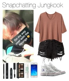 """《Snapchatting Jungkook》"" by mh-loves1d ❤ liked on Polyvore featuring Converse, Alexander Yamaguchi, FACE Stockholm and Kat Von D"