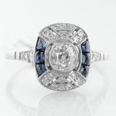 SOLD – Art Deco Style Sapphire and Diamond Ring in Platinum Platinum Jewelry, Sapphire Jewelry, Art Deco Jewelry, Fine Jewelry, Antique Jewelry, Vintage Jewelry, Antique Diamond Rings, Dolphin Jewelry, Art Deco Diamond
