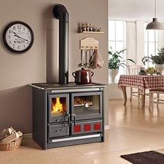 Wood Burning Cook Stove, Wood Stove Cooking, Pellet Stove, Oven Design, Küchen Design, Cooking Appliances, Home Appliances, Modern Ovens, Stove Fireplace