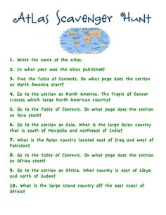 This atlas scavenger hunt can be used with just about any school atlas to familiarize students with the components of an atlas! ...