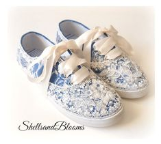 Please put in the notes section at checkout: *Date you would like to receive by.  *This is a custom item and is non returnable. Please view all photos and ask any questions before purchasing. :) Thanks!   Cute wedding sneakers...perfect for your special day!! Canvas tennis shoes Embellished with beautiful lace... Appliques, Pearls and rhinestones adorn the toe area. Color is Royal Blue with ivory lace on top and ivory eyelet trim. Satin Ribbon for tying. FREQUENTLY ASKED QUESTIONS: *DO THESE…
