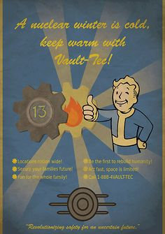Advertisement poster for Vault-Tec from the Fallout Universe featuring Vault Boy!. Video games, geek, Fallout, print, nerd.