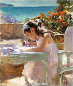 Vladimir Volegov 451. Drawing Girl (2014) http://www.volegov.com/drawing-girl-painting/