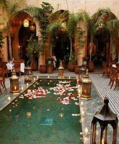 Marrakech pool adorned with customary wedding decor of brass lanterns, luminous . - Marrakech pool adorned with customary wedding decor of brass lanterns, luminous candles, and floati - Oriental Wedding, Moroccan Wedding, Moroccan Party, Moroccan Decor, Moroccan Style, Moroccan Lanterns, Moroccan Design, Moroccan Garden, Turkish Decor
