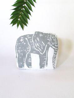 Elephant Shaped PIllow. Hand Woodblock Printed.Choose ANY
