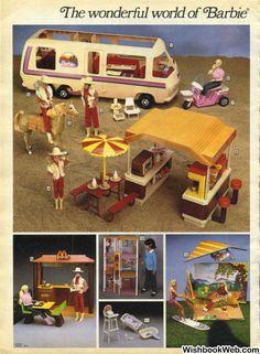 1983 Sears Wishbook Wish Book Christmas Catalog - Barbie Western Star Traveler GMC Motor Home (MotorHome) Snack Shack (Stop) and McDonalds Hang Glider, Wind Surfer, Beach, Horse - Barbie, Ken and Skipper Dolls Barbie Playsets, Barbie Toys, Barbie I, Barbie World, Vintage Barbie, Vintage Dolls, Vintage Ads, Childhood Toys, Childhood Memories