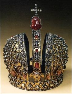 Crown of Empress Anna of Russia, look at the uncut ruby under the cross, unique for the time!
