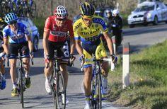 Tirreno-Adriatico 2014 - Stage 5 - Alberto Contador (Tinkoff-Saxo) leads Adam Hanse (Lotto)