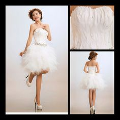 PERFECT BODICE Wholesale sexy summer beach white feather short dress for wedding 210