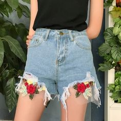 (13.9$)  Buy here  - New Fashion Women Denim Shorts Floral Embroidery Frayed Ripped High Waist Slim Short Jeans Light Blue