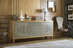 Sideboard in solit wood Pompeivm Ornamenta collection