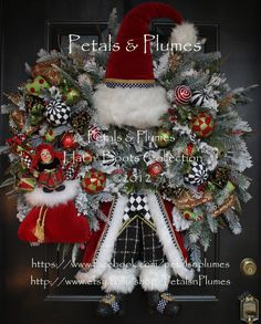 Christmas Wreath-Santa Wreath-North Pole Santa Wreath by Petals & Plumes©