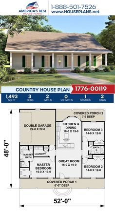 A darling Country home design, Plan 1776-00119 features 1,493 sq. ft., 3 bedrooms, 2 bathrooms, split bedrooms, a kitchen island, and an open floor plan. #architecture #houseplans #housedesign #homedesign #homedesigns #architecturalplans #newconstruction #floorplans #dreamhome #dreamhouseplans #abhouseplans #besthouseplans #newhome #newhouse #homesweethome #buildingahome #buildahome #residentialplans #residentialhome
